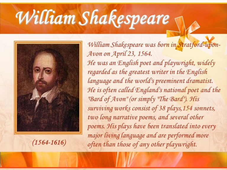 a biography of william shakespeare the bard of avon Short bio of william shakespeare william shakespeare was born in stratford-upon-avon on 23rd april 1564 his father william was a successful local businessman, and his mother mary was the daughter of a landowner relatively prosperous, it is likely the family paid for williams education.